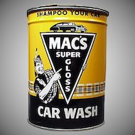 Vintage Automotive Advertising Tin - Old Mac's Car Wash Tin