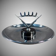 Vintage Pincherette Ashtray - Old Chrome Ash Tray with Modernistic Crown Design
