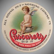 Vintage Celluloid Pocket Mirror - Cascarets Laxative Advertising with Cherub on Chamber Pot