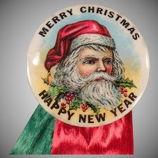 Vintage Santa Claus Celluloid Pinback - Christmas Pin Back with St Nicholas