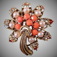 Vintage Costume Jewelry - Old Brooch with Rhinestones & Faux Coral & Pearls