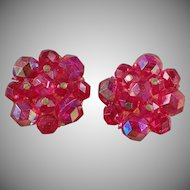 Vintage Costume Jewelry - Old Clip On Earrings - Iridescent Bead Clusters - West German