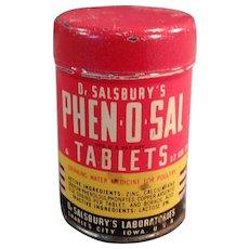 Vintage Dr. Salsbury's Phen-O-Sal Tablets for Poultry - Old Sample Tin