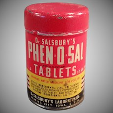 Vintage Dr. Salsbury's Phen-O-Sal Tablets for Poultry - Old Sample Tin