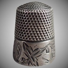 Vintage Sterling Silver Thimble - Leaf Design - Old Stern Brothers Sewing Thimble