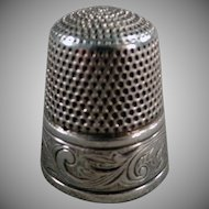Vintage Sterling Thimble - Art Nouveau Design - Old Simons Brothers Thimble