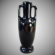 Vintage Frankoma -  Handled Pottery Bud Vase with Glossy Black Glaze
