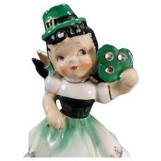 Vintage Birthday Angel – March Lass with Irish Shamrock – Old Lefton Figurine