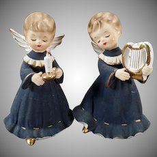 Vintage Holiday Angels – Angelic Girls in Dark Blue Robes – Old Inarco Figurines
