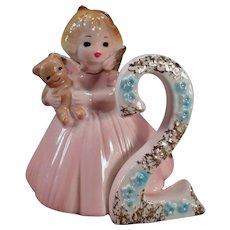 Vintage Japan Josef Original – #2 Birthday Angel - Age Two with Teddy Bear