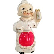 Vintage Mrs. Claus Christmas Candle Holder - ca. 1950's