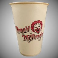Vintage Ronald McDonald Dixie Cup – Old Mc Donald's Advertising – 1960's