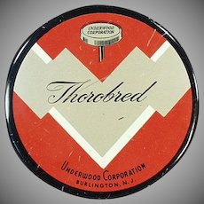 Vintage Typewriter Ribbon Tin - Old Underwood Thorobred Tin