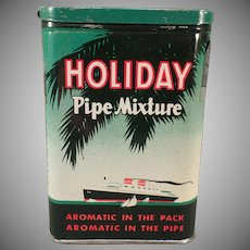 Vintage Tobacco Tin - Old Holiday Pipe Mixture Pocket Tin