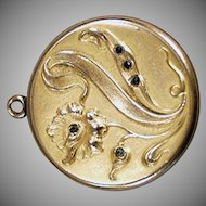 Vintage Picture Locket - Old Locket with Art Nouveau Floral Design and Tiny Stones