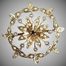 Vintage Brooch Pendant - 14k Gold with Tiny Sapphire and Seed Pearls