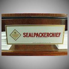 Vintage Counter Display Case - Original Sealpackerchief Handkerchief Advertising Decals