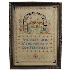 Vintage Cross Stitch - Old Framed Cross Stitch - House Blessing