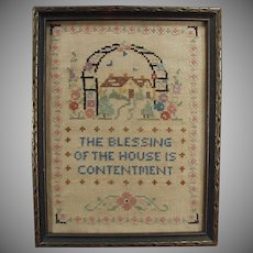 Vintage Cross Stitch - Old Framed Cross Stitch - House Blessing