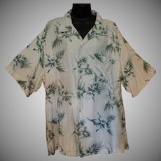 Vintage Hawaiian Style Casual Shirt – Orchid Flower Design - Knightsbridge – Size Large