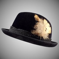 Gentleman's Vintage Stetson Hat - Black Felt - Royal De Luxe - Old Fedora Hat