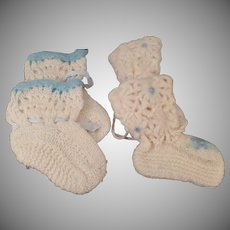 Vintage Baby Booties -  Two (2) Pairs of Old Handmade Infant Shoes