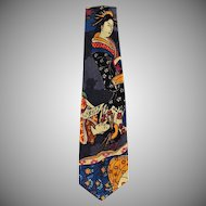 Vintage Necktie with Oriental Geishas - Wide Style Old Neck Tie