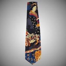 Vintage Necktie with Oriental Geishas - Wide Style Old Neck Tie
