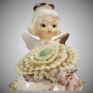 Vintage Porcelain Birthday Angel - November Girl with Large Flower and Birthstone