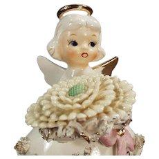 Vintage Porcelain Birthday Angel - November Girl with Large Flower and Birthstone