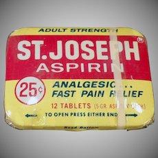 Vintage Medicine Tin - Old St.Joseph Aspirin Tin with Original Wrapping
