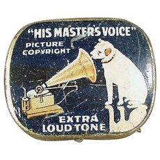 Vintage Phonograph Needle Tin - His Master's Voice Nipper Logo - Old Blue Tin