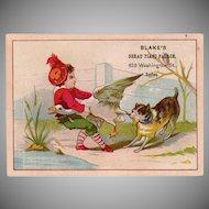 Vintage Trade Card - Buys Playing Tug-o-War - Blake's Great Piano Palace