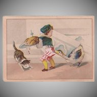 Vintage Trade Card - Moffitt's Restaurant - Cute Thanksgiving Scene - Boy and Goose