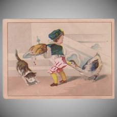 Vintage Trade Card - Moffitt's Restaurant - Cute Thanksgiving Scene - Boy and Goose