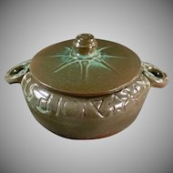 Vintage Frankoma Pottery - Old Wagon Wheel Covered Casserole #94V - Green Glaze -1940's