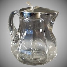 Vintage Syrup Pitcher - Old Heisey Glassware - #359 12oz Pitcher with Metal Lid