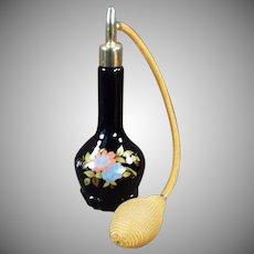 Vintage Perfume Atomizer - Old Black Glass Perfume Bottle with Floral Decoration