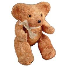 Vintage Miniature Teddy Bear - Old Tape Measure - Little Plush Bear