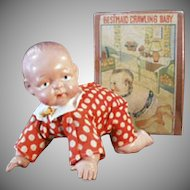 Vintage Celluloid Baby Doll -Old Wind Up Doll with Original Box
