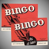 Two Vintage Soda Pop Bottle Labels - 2 Old Bingo Labels