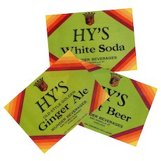 Three Vintage Soda Bottle Labels - 3 Different Hy's Products including Root Beer