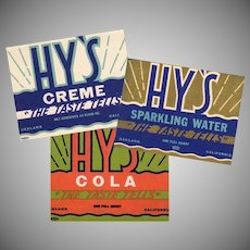 Three Vintage Soda Bottle Labels - Hy's in 3 Different Designs