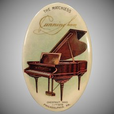 Vintage Celluloid Advertising Mirror – The Matchless Cunningham Piano