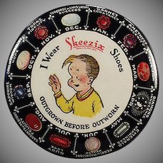 Vintage Celluloid Advertising Mirror -  Old Skeezix Shoes and Birthstone Chart