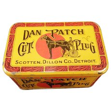 Vintage Tobacco Tin – Old Dan Patch Cut Plug Tin – Nice Colorful Advertising