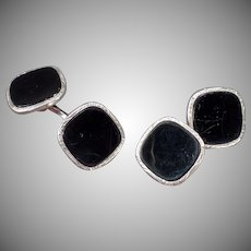 Vintage Swank Cuff Links – Sharp Black and Silver Loose Link Set