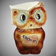 Vintage Cookie Jar - Old American Bisque Collegiate Owl Jar - 1958