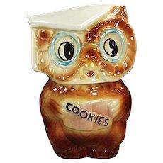 Vintage Cookie Jar - Old American Bisque Collegiate Owl Jar - 1958