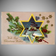 Vintage Christmas Postcard with a Star Framed Winter Scene